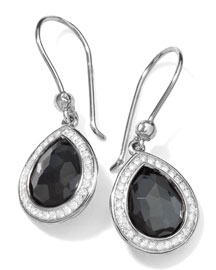 Stella Teardrop Earrings in Hematite & Diamonds, 28mm