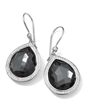 Stella Teardrop Earrings in Hematite & Diamonds, 34mm