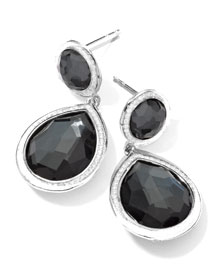 Stella 2-Stone Drop Earrings in Hematite & Diamonds