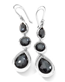 Stella 3-Drop Earrings in Hematite & Diamonds
