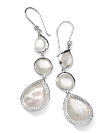 Stella 3-Drop Earrings in Mother-of-Pearl & Diamonds