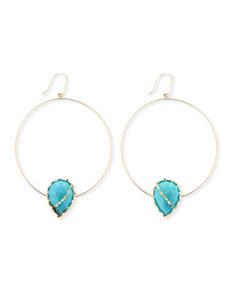 14k Gold Turquoise-Station Hoop Earrings