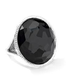 Stella Large Lollipop Ring in Hematite & Diamonds