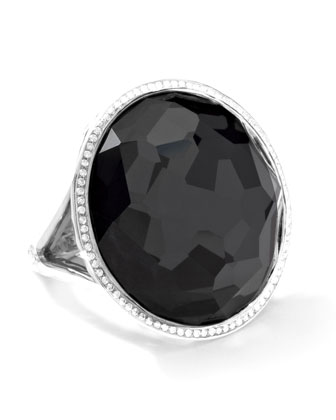Stella Large Lollipop Ring in Hematite & Diamonds