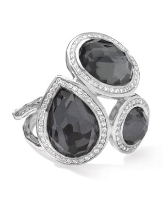 Stella Ring in Hematite Doublets with Diamonds, 0.41