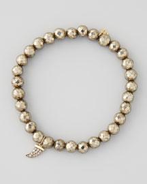 Pave Diamond Horn-Charm Pyrite-Bead Bracelet