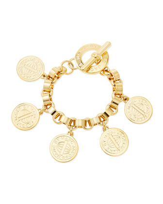 Toggle-Clasp Charm Bracelet, Yellow Golden