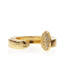 Pave Railroad Spike Ring, Yellow Golden