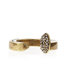 Pave Railroad Spike Ring, Brass