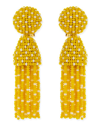 Short Dotted Beaded Tassel Clip-On Earrings, Yellow