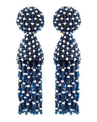 Short Dotted Beaded Tassel Clip-On Earrings, Lapis Blue
