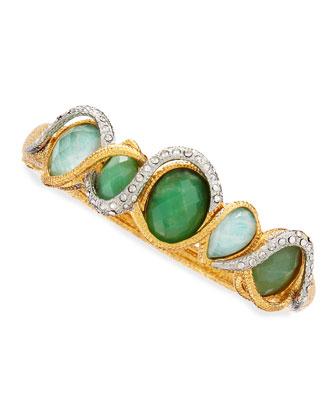 Maldivian Golden & Green Stone Bracelet