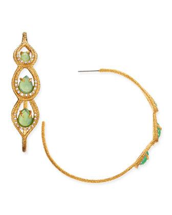 Maldivian Golden Hoop Earrings with Chrysoprase Chalcedony