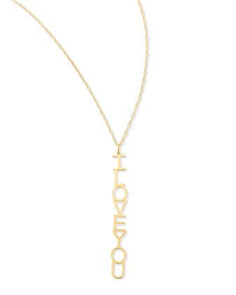Vertical I Love You Pendant Necklace