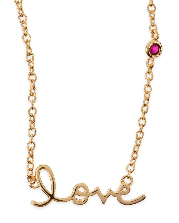 SHY by SE Love Bezel-Ruby Pendant Necklace, GOLD