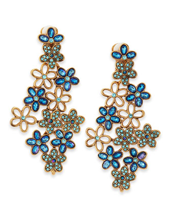 Crystal Daisy Clip-On Earrings, Blue