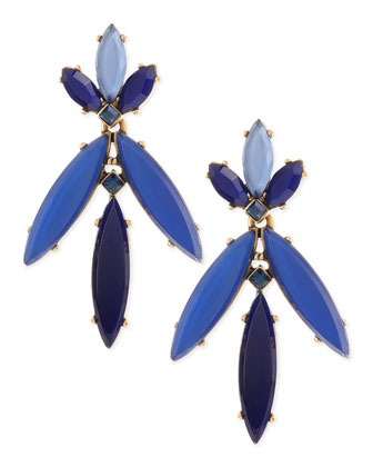 Marquise Resin Drop Clip-On Earrings, Lapis Blue