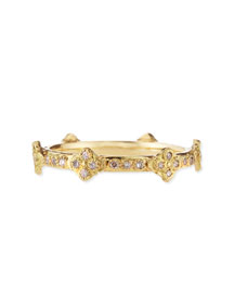 18k Yellow Gold Stackable Ring with Diamond Cravelli Crosses