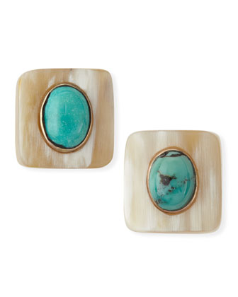 Maji Light Horn Turquoise Stud Earrings