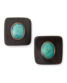 Maji Dark Horn Turquoise Stud Earrings