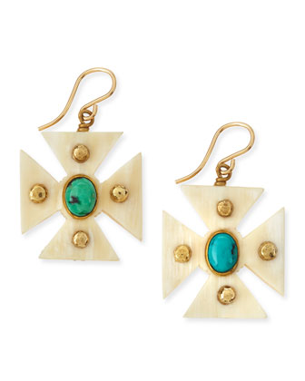 Araba Light Horn Turquoise Maltese Cross Earrings
