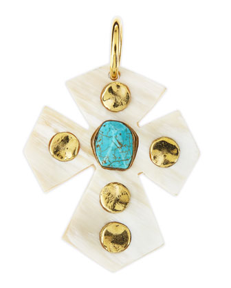 Mwamba Light Horn Cross Pendant with Turquoise