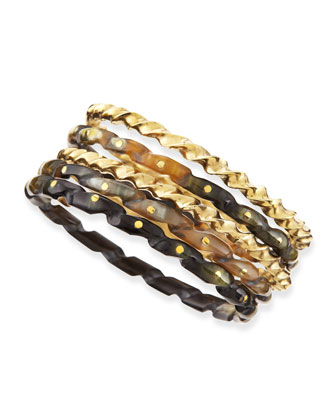 Kuchonga Dark Horn Bangles, Set of 5