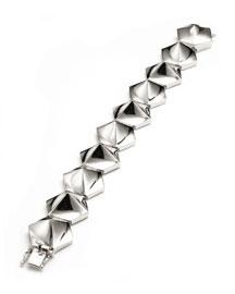 Bent Pyramid Tennis Bracelet, Silvertone