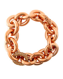 Rose Gold Pave-Link Chain Bracelet