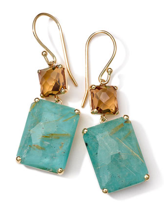 18K Gold Rock Candy Gelato Rectangle Snowman Earrings, Citrine/Turquoise