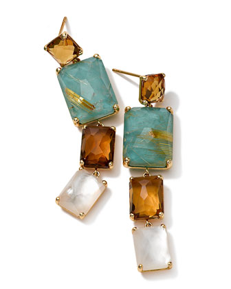 18k Gold Rock Candy Gelato Rectangular 4-Stone Linear Drop Earrings