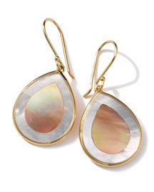 18K Gold Polished Rock Candy Mini Teardrop Earrings in Brown Shell/Mother-of-Pearl