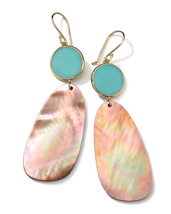 18K Gold Ondine 2-Drop Earrings in Turquoise/Brown Shell