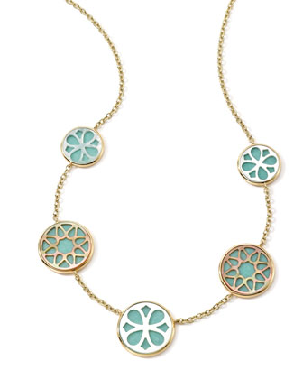 18K Gold Polished Rock Candy Cutout Stone 5-Station Necklace in Isola, 16-18