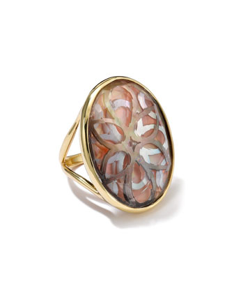 18K Gold Polished Rock Candy Oval Cutout Ring in Sabbia