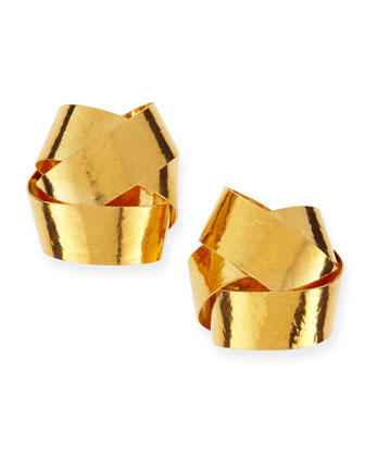 Ruban Ribbon Gold Knot Clip-On Stud Earrings