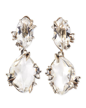 Silver Ice Marquis Clear Quartz Drop Earrings with Diamonds