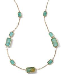18k Gold Rock Candy Gelato 9-Stone Rectangle Necklace, Rutilated Quartz/Turquoise