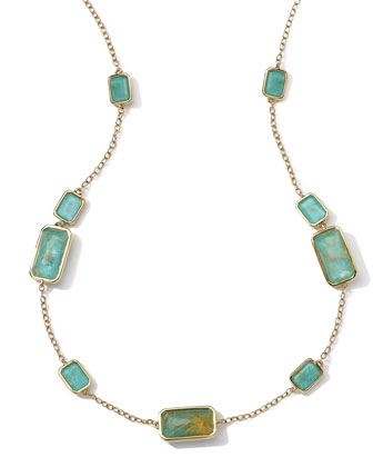 18k Gold Rock Candy Gelato 9-Stone Rectangle Necklace, Rutilated Quartz/Turquoise
