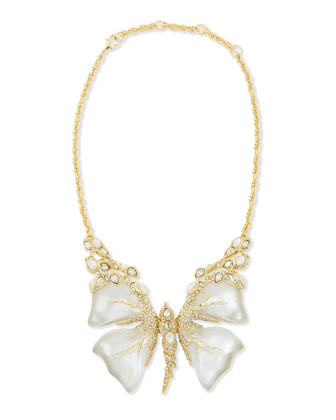 Crystal Mother-of-Pearl & Lucite Butterfly Necklace