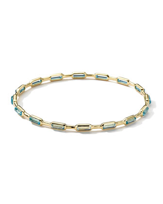 18k Gold Rock Candy Gelato 16-Stone Bangle, Blue Topaz