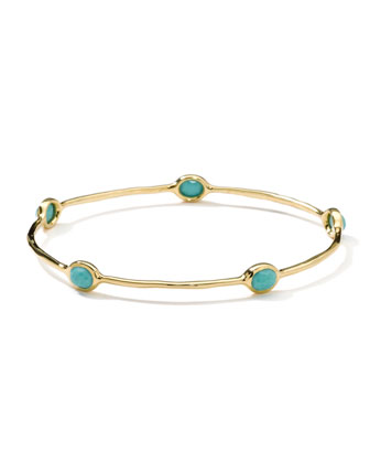 18K Gold Rock Candy Lollipop 5-Stone Bangle in Turquoise