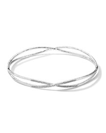 Sterling Silver 2 Crisscross Wire Diamond Bangle