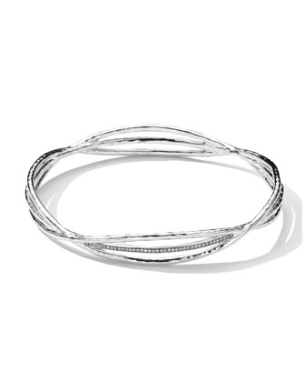 Sterling Silver Crisscross Wire Diamond Bangle (0.30ctw)