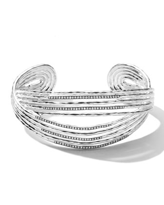 Sterling Silver Wired Cuff with Diamonds