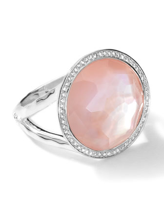 Sterling Silver Stella Lollipop Ring in Pink Mother-of-Pearl w/Diamonds (0.23 ctw)