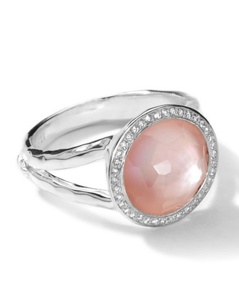 Sterling Silver Stella Mini Lollipop Ring in Pink Mother-of-Pearl w/Diamonds (0.15 ctw)