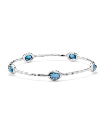 Sterling Silver Rock Candy 8-Stone Bangle in London Blue Topaz
