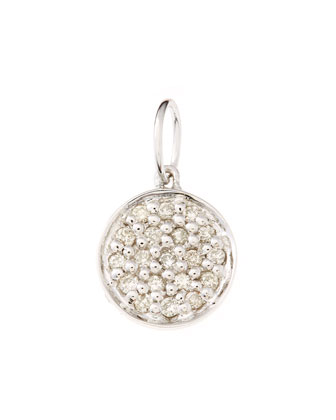 Mini White Gold Pave Diamond Disc Charm (Made to Order)