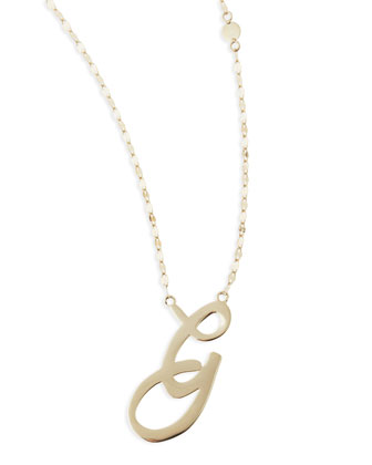 14k Gold Initial Letter Necklace, G